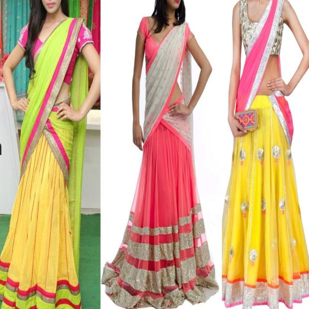 neon half sarees