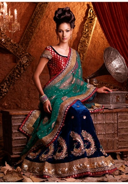 blue velvet & green dupatta half saree