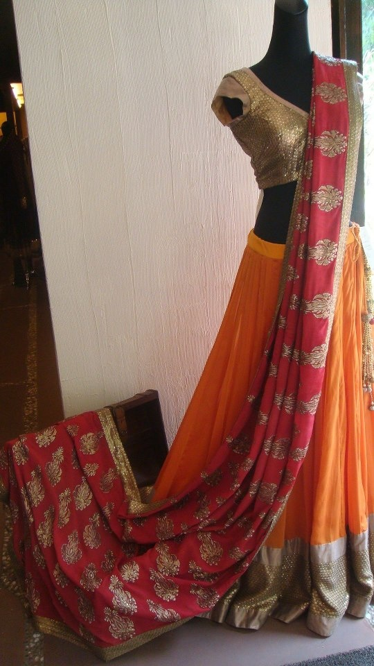 orange red lehenga