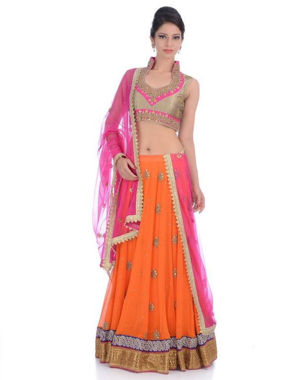orange pink lehenga