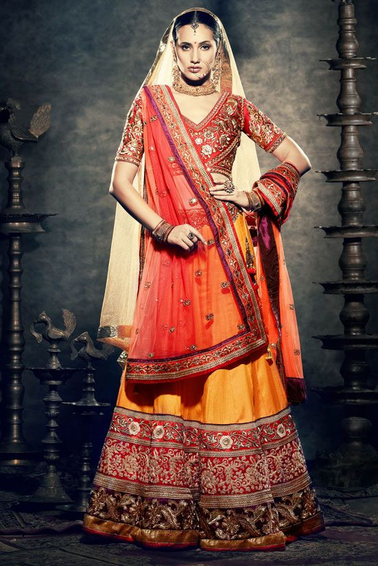 sunset orange lehenga