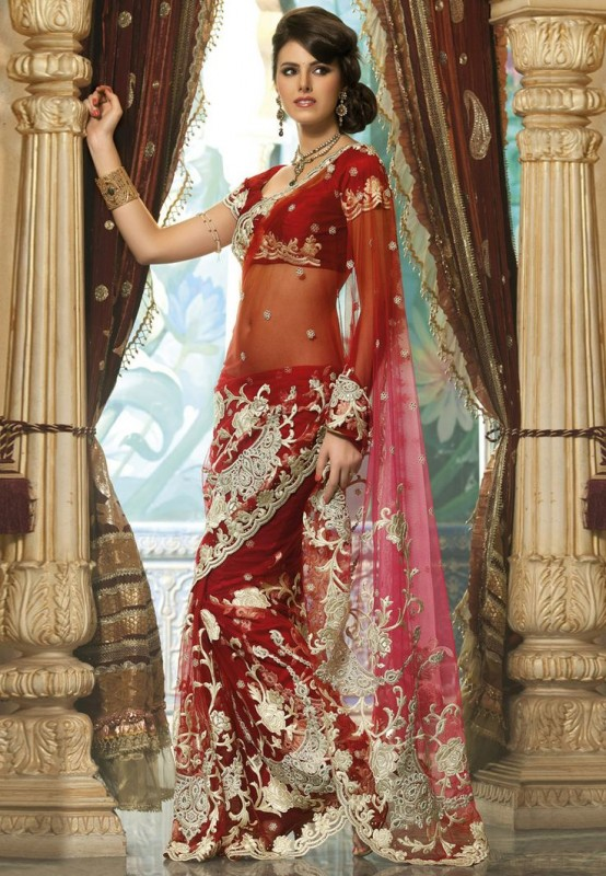 red wedding saree